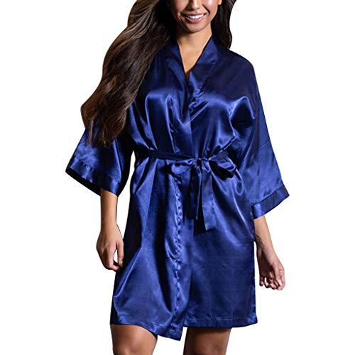 Neue Damen Nachtwäsche FGHYH Womens Sexy Satin Nachtwäsche Dessous Nachtwäsche Unterwäsche Nachthemd Robe(M, Blau) (Robe Sleepshirt)