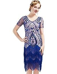 ArtiDeco 1920s Kleid Damen Flapper Kleid mit Kurzem Ärmel Gatsby Motto Party Damen Kostüm Kleid