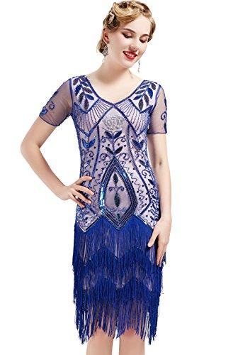 ArtiDeco 1920s Kleid Damen Knielang Vintage Abendkleid 20er Jahre Flapper Damen Gatsby Kostüm Kleid (Blau, XL) (Vintage-20er Jahre Kleider)