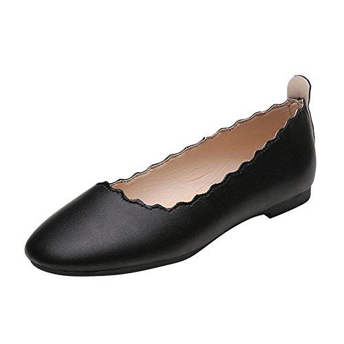 Mee Shoes Damen flach mit Borte bequem Ballettschuhe Schwarz