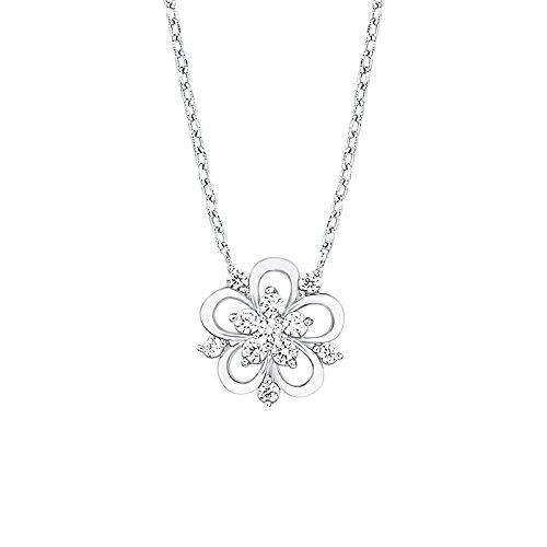 Amor Damen-Kette 42+3 cm mit Anhänger Blume 925 Silber rhodiniert Zirkonia weiß