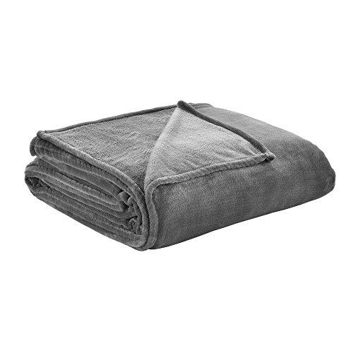 [neu.haus]® Couverture - Microfibre, peluche couvre-lit - 280g/m² - Gris foncé - 210x280 cm