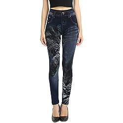 GladiolusA Leggings Leggins Jeans Push Up Cintura Alta Jeggings Vaqueros Pantalones Elásticos para Mujer Cat Un tamaño