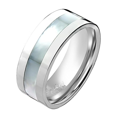 Paula & Fritz Titan Ring silber 8mm breit Bandring mit Band aus Perlmutt 66 - Breites Band-ringe Silber