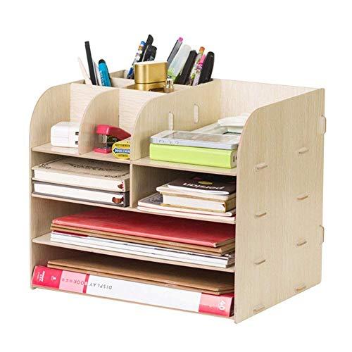 Organizer da scrivania multifunzionale da ufficio, in legno, per cancelleria, scrivania, biglietti da visita, penne, telefono cellulare, telecomando, per la casa e l'ufficio Color B
