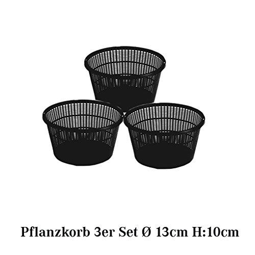 Pflanzkorb Set Pflanzhilfe Wasserpflanzen verschiedene größen Sets ideal für Fertigteiche Gartenteiche unf Fischteiche - 3er - Ø 13cm