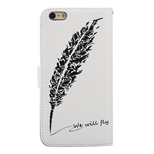 Coque Etui iPhone 6 / 6S, iPhone 6 Cuir Coque Portefeuille Relief Peint Etui avec 9 emplacements pour cartes, iPhone 6S Étui en cuir Folio Etui Housse Leather Bookstyle Case Cover, Ukayfe Etui de Prot Feuilles signature plumes