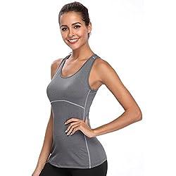 Joyshaper Camiseta de Deportes para Mujer Top de Tirantes Chaleco Ajustado de Compresión de Secado Rápido Sudadera Ropa Deportiva sin Mangas (Gris, Small)