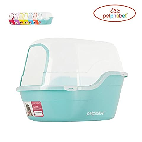Petphabet Cat Litter Box Jumbo Hooded Cat Litter Tray Extral Large Litter Box Multi-Color XXL Pet Litter Tray