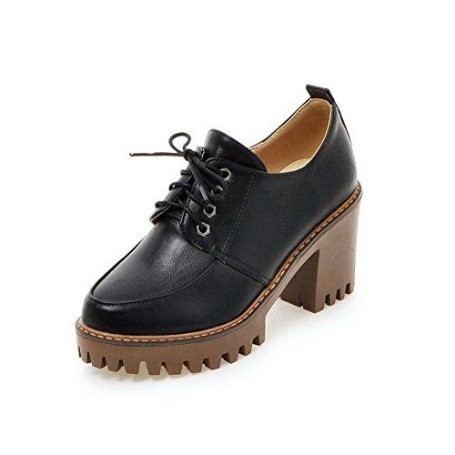 AgooLar Femme à Talon Haut Couleur Unie Lacet Matière Souple Rond Chaussures Légeres Noir