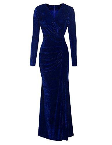 Aimado Damen Abendkleid Vintage Stil mit V Ausschnitt lange Ärmel geraffte Seite Split Maxi Party Kleid Cocktailkleid (Robe Wrap Front)