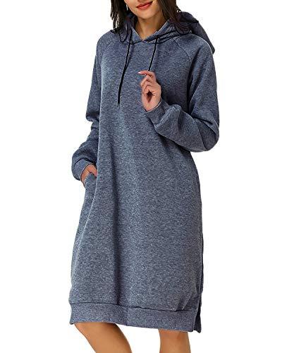Kidsform Sweat-Shirt Femme à Capuche Manche Longue Casual Robe de Pull Top Automne Hiver T-Shirt Haut avec Poches Décontractée Gris foncé S