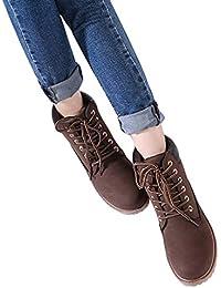 Botas de Tobillo de Mujer de Moda Botas de tacón Alto Trabajo de Senderismo Lace Up Biker Shoes Botas Planas Zapatos