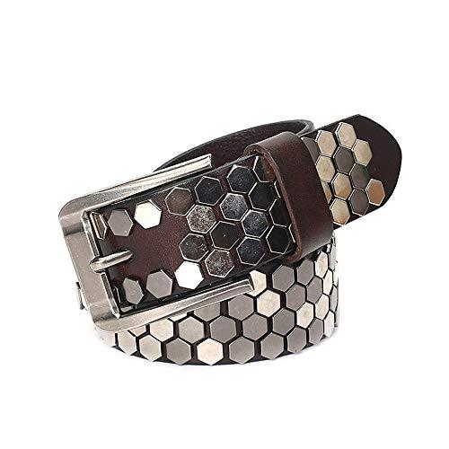 Elegante poligonal Remache Cinturones de cuero para hombres Mujeres Adultos Cinturones góticos Hecho a mano Steampunk Tachonado Punk Rock Blet Negro Marrón Amarillo ( Color : Marrón , tamaño : 115cm )