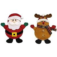 Decdeal 2 pz/set portacoltelli di Natale forchetta coltello cucchiaio borse tasche set decorazioni natalizie