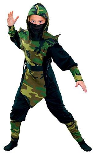 Kinder-Kostüm NINJA CAMOUFLAGE - 9-teilig, Kindergröße:128 - 6 bis 8 (Kostüme Ninja Kleinkind)