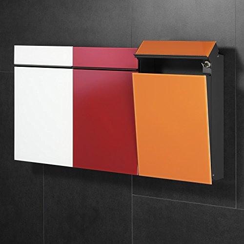 Serafini Briefkasten Flat aus Stahl Korpus schwarz Front Glas grau (DB 703) - 2