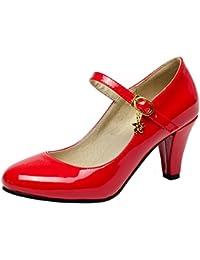 e32796ae9790e0 YE Damen Mary Jane Pumps Blockabsatz Lack High Heels mit Schnalle 7cm  Absatz Bequem Schuhe