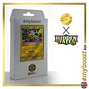 Jolteon 23/68 Holo Reverse - #myboost X Sun & Moon 11.5 Hidden Fates - Box de 10 cartas Pokémon Inglesas