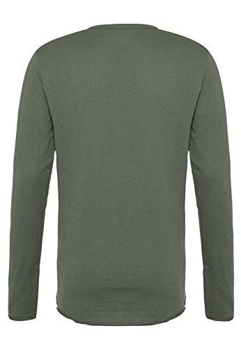 Urban Surface Herren Longsleeve mit Schnürung | Basic Langarmshirt aus leichtem Jersey-Material middle-green