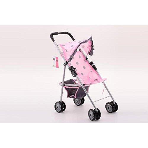 Johntoy 27563 Baby Rose Puppenwagen mit Sonnenschirm