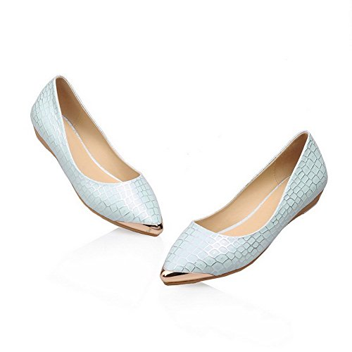 AllhqFashion Femme Pointu Fermeture D'Orteil Tire Pu Cuir Couleurs Mélangées à Talon Bas Chaussures Légeres Bleu