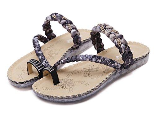 Fortuning's JDS Le donne con il cinturino intrecciato sandalo piatto scarpe pantofole Nero