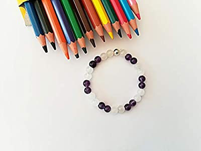 Bracelet Quartz rose, Bracelet Amethyste, Bracelet calme, Pierres naturelles, Automne, Bracelet enfant, Cadeau Noël, Bracelet améthyste
