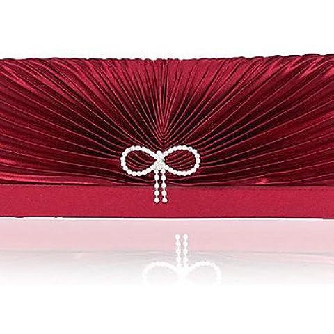 Da Wu Jia Ladies borsetta di alta qualità di lusso per donna fatte a mano in raso di piegatura diamanti Bowknot Borsa serale , vino