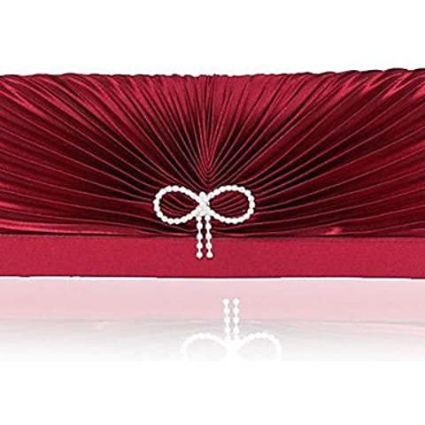 Da Wu Jia señoras bolso de lujo de alta calidad artesanal de mujeres plegado diamantes de satén Bowknot Bolsa de noche , rosa
