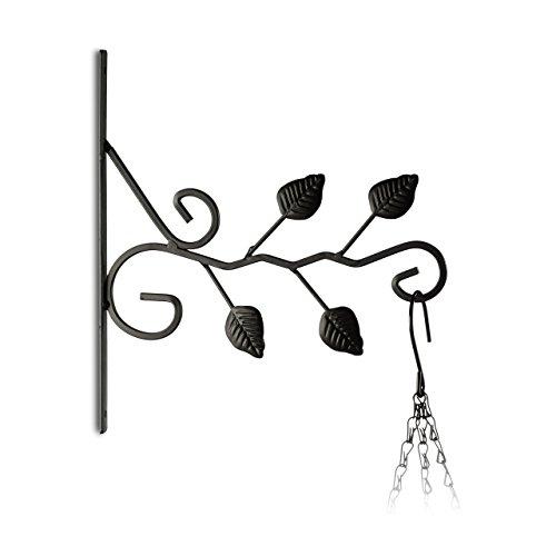 Relaxdays 10020695_626 appendi-vasi con foglie ganci portavasi da parete decorazioni da giardino metallo hxlxp: 30 x 28 x 2 cm nero