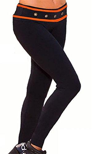 Crayon Pantalons Collants Leggings De Nouvelles Noir Taille Haute Sport Yoga Occasionnels Femmes Noir et orange
