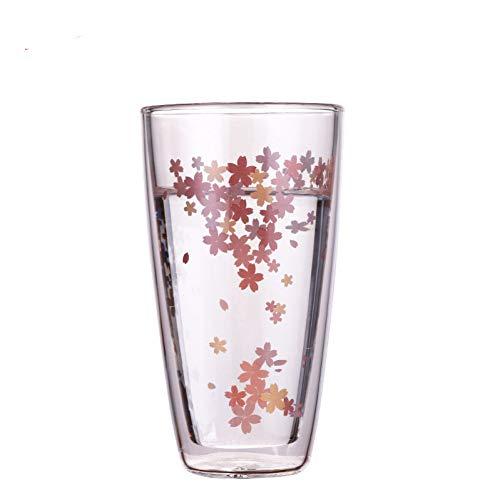 Erjialiu 350 ml Kirsche Klar Handgemachte Hitzebeständige Doppelwand Glas Kung Fu Tee Becher Gesunde Trinkmilch Wasser Kaffeetasse,350ML -