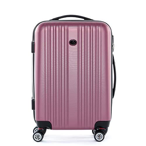 FERGÉ Handgepäck-Koffer Hartschale Toulouse Bordgepäck Rollkoffer 55 cm Reisekoffer Kabinen-Trolley 4 Rollen 100% ABS pink
