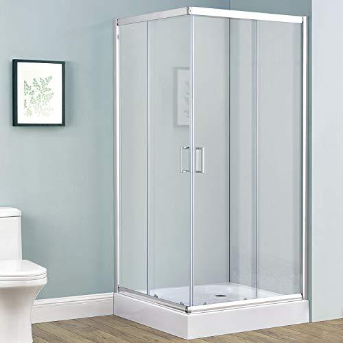 Duschkabine Braga 80 x 100 cm Alu-Echtglas mit Eckeinstieg & Schiebetüren