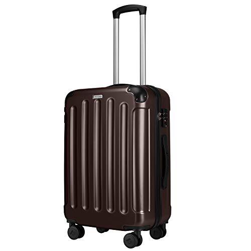 Amasava valigia grande valigia trolley grande, 66 cm/68 litri, valigia trolley da viaggio rigida vintage, ultra leggero in abs+pc, con lucchetto tsa e 4 ruote multidirezionali (m, marrone)