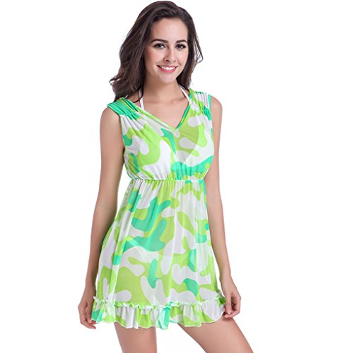 UDreamTime Womens Bikini Strandkleidung V-Ausschnitt-Vertuschung-Strand-Kleid Bademode Grün