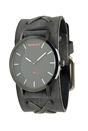 Nemesis Men's Quartz Stainless Steel and Leather Casual Watch, Color:Black (Model: K7XB222K)