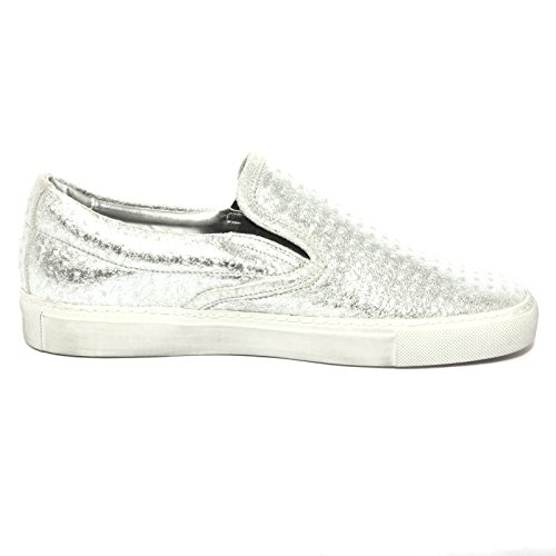 B1095 sneaker donna P448 E6 SLIPON scarpa argento shoes women Argento