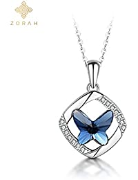 Zorah Sterling Silver Butterfly Shaped Crystal Pendant Necklace For Women And Girls (Embellished With Crystals...