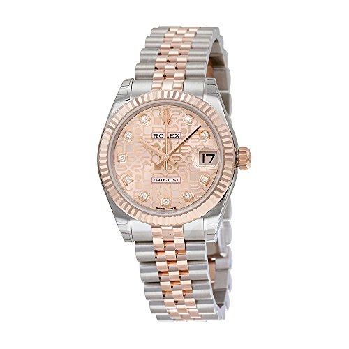 Rolex Women's 31mm Two Tone Steel Bracelet & Case Sapphire Crystal Automatic Pink Dial Watch m178271-0012
