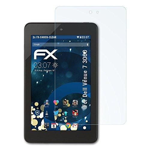 atFolix Schutzfolie kompatibel mit Dell Venue 7 3000 Panzerfolie, ultraklare & stoßdämpfende FX Folie (2X)