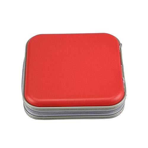 Ogquaton Einfarbig cd Fall tragbare 40 Disc cd Organizer Tasche Musikvideo Festplatte Tragetasche cd DVD Lagerung Inhaber Fall Tasche rot 2-cd-tasche