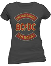 AC/DC About To Rock Skinny Fit T Shirt (Noir) - Small