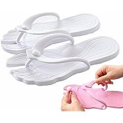 Happy Lily flip-folps Hausschuhe rutschfesten Sohlen Pantoletten Innen-Sandalen Pool Badezimmer Schuhe mit abnehmbarem Oberteil ideal für Reisen, weiß