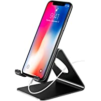 Mpow Phone Stand, Desktop Phone Holder Full Aluminum Cell Phone Tablet Stand Metal Holder Wide Compatibility Kindle iPhone X 8 7 6 Plus Samsumg Galaxy S9 S8 Google HTC LG iPad Nintendo Switch (Black)