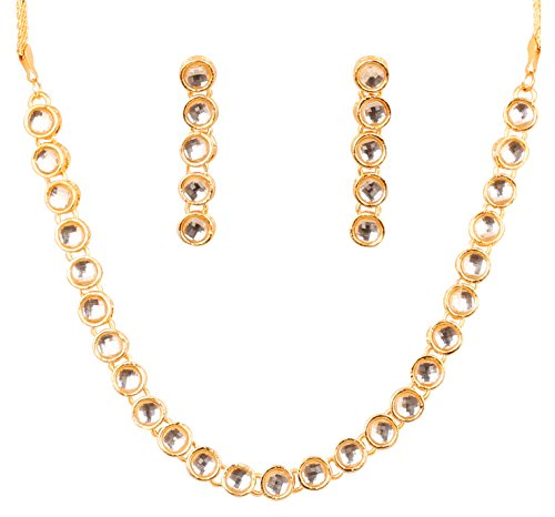 Touchstone Indian bollywood elegant Kundan polki look light jewelry necklace set in gold tone for women