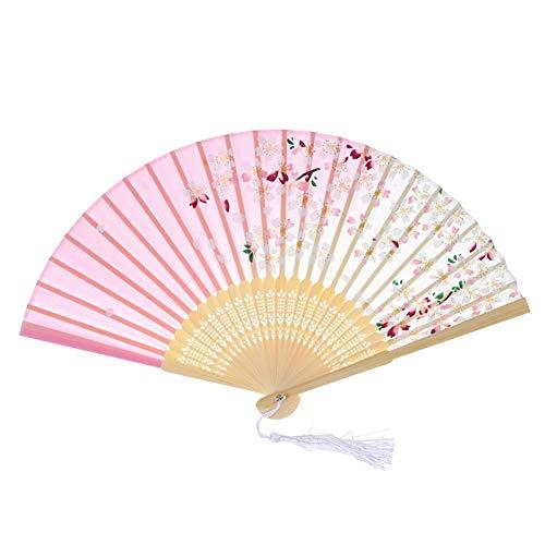 Smilikee Chinesischer Fan faltfächer Vintage der Handventilatoren mit Quasten-Bambusventilator für das Tanzen faltet faltfächer Hochzeit Geschenk