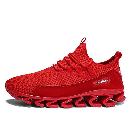 YYAMO Zapatos Zapatos De Deporte De Hombres Marea Blanca Volando Transpirable Malla Tejida Casual Zapatillas Juveniles Viajes De Equitación Gimnasio Caminar Trotar Guerrero Fuerza Elástica,44,como