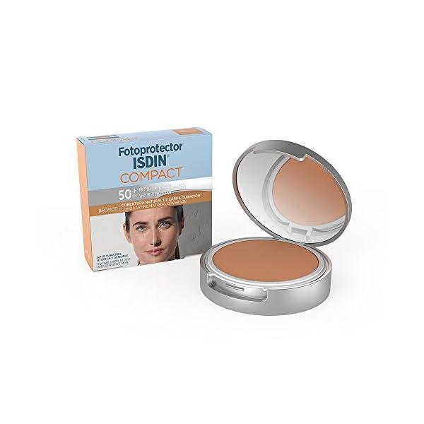 Fotoprotector ISDIN Compact SPF 50+ Bronce – Protector solar facial, Cobertura natural de larga duración, Apto para piel atópica y sensible, 10 g
